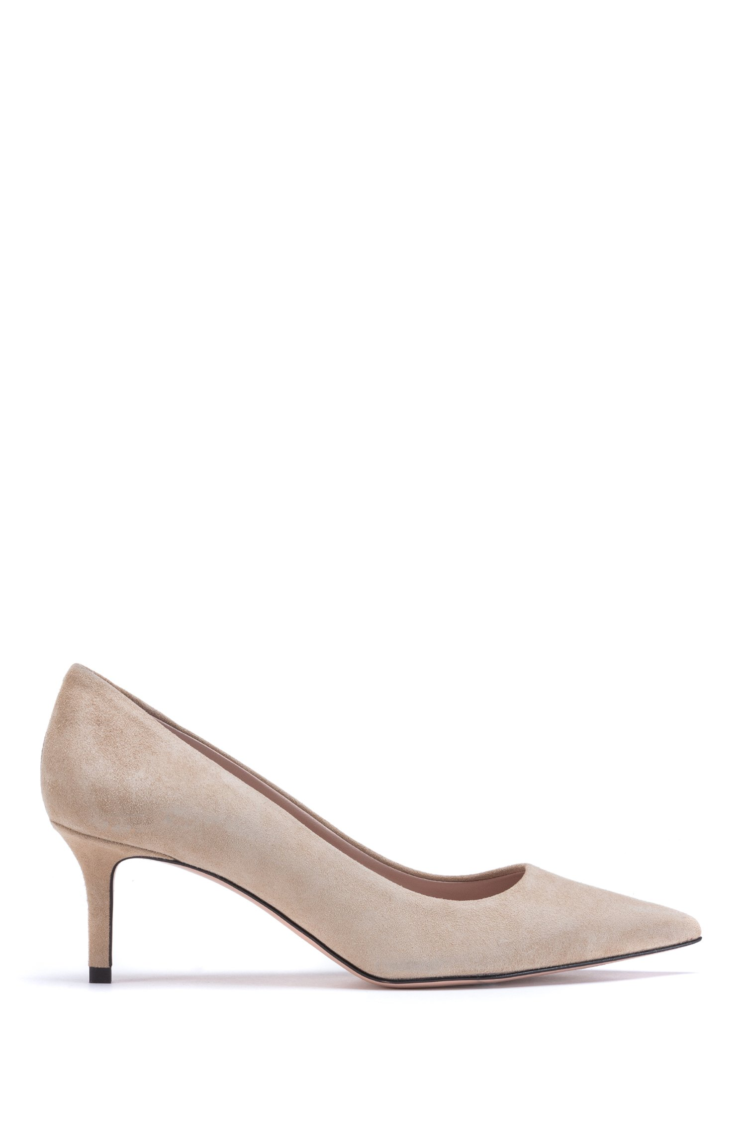 Italian-suede pumps with pointed toe, Light Beige