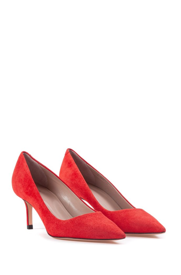 Italian-suede pumps with pointed toe