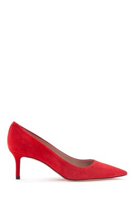 Italian-suede pumps with pointed toe, Red