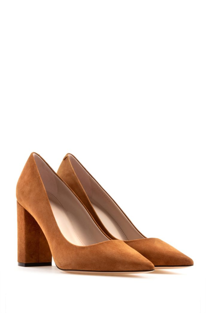 Italian-suede pumps with square heel and pointed toe