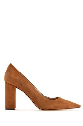Italian-suede pumps with square heel and pointed toe, Brown