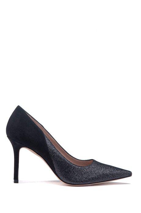 Zapatos de tacón elaborados en Italia en ante y tejido brillante, Negro