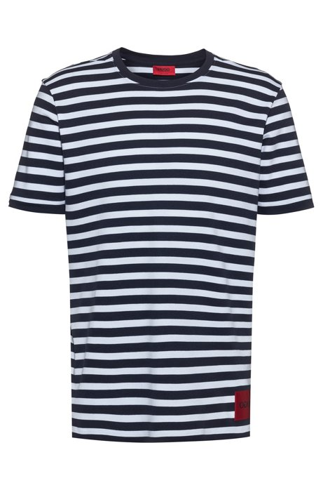 Relaxed-fit T-shirt in jacquard-stripe jersey, Patterned