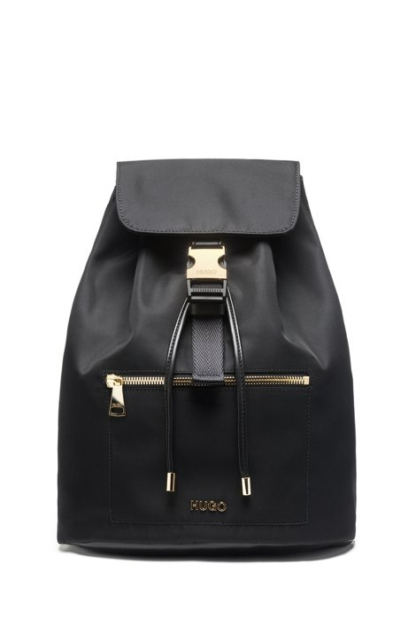 Nylon-gabardine backpack with gold-effect hardware, Black