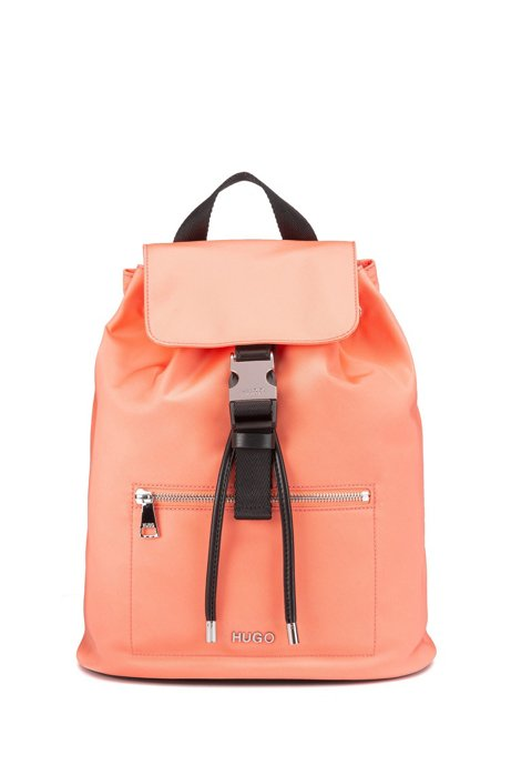 Nylon-gabardine backpack with gold-effect hardware, Light Orange