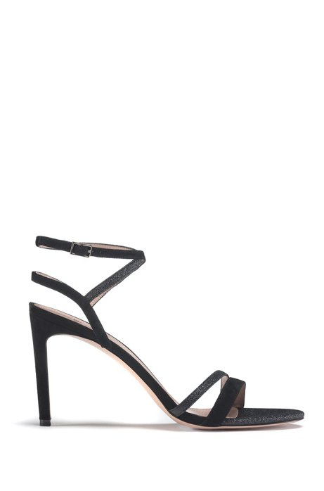 Italian-made strappy sandals in suede and glitter fabric, Black