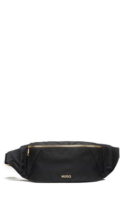 Nylon-gabardine belt bag with golden hardware, Black