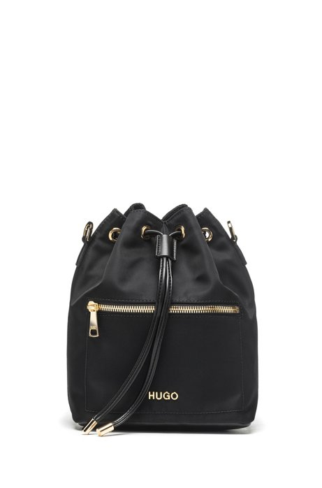 Small nylon-gabardine bucket bag with polished hardware, Black