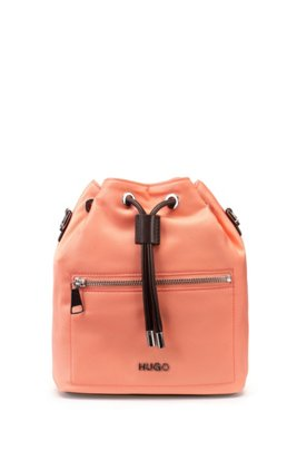 Small nylon-gabardine bucket bag with polished hardware, Light Orange