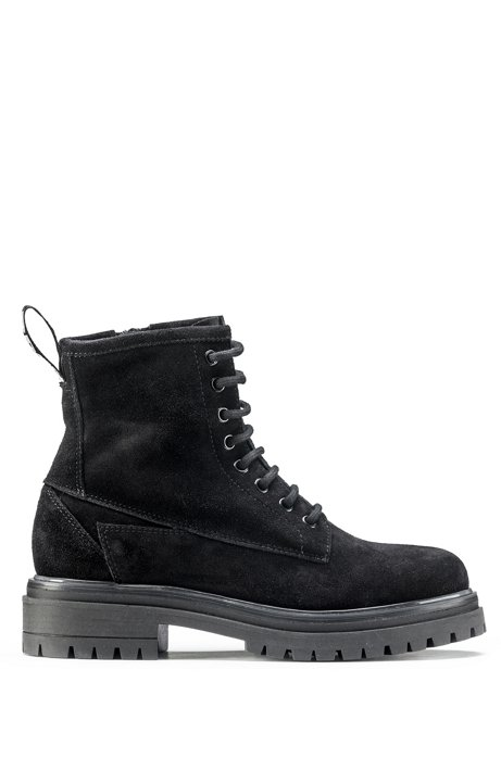 Italian-made suede boots with lug sole, Black