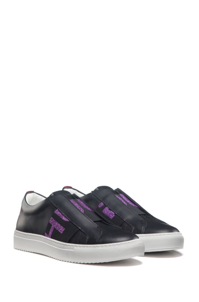 Low-top Italian leather trainers with glitter-logo band
