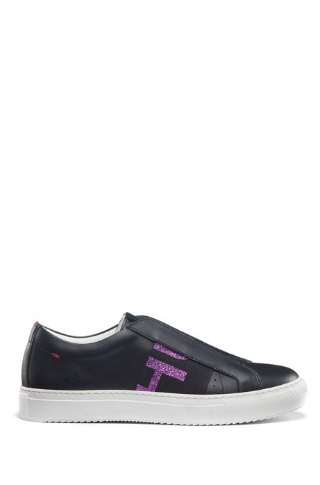 Sneakers low-top in pelle italiana con banda con logo effetto glitterato, Nero