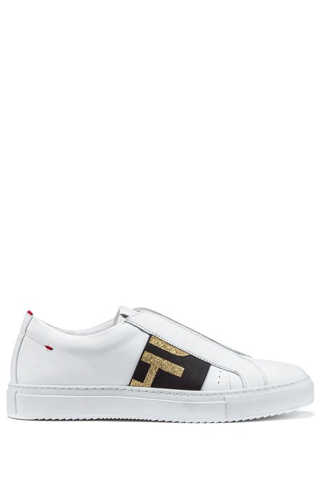 Low-top Italian leather trainers with glitter-logo band, White