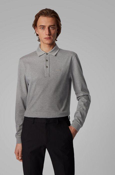 Longsleeve-Poloshirt aus Interlock-Baumwolle, Grau