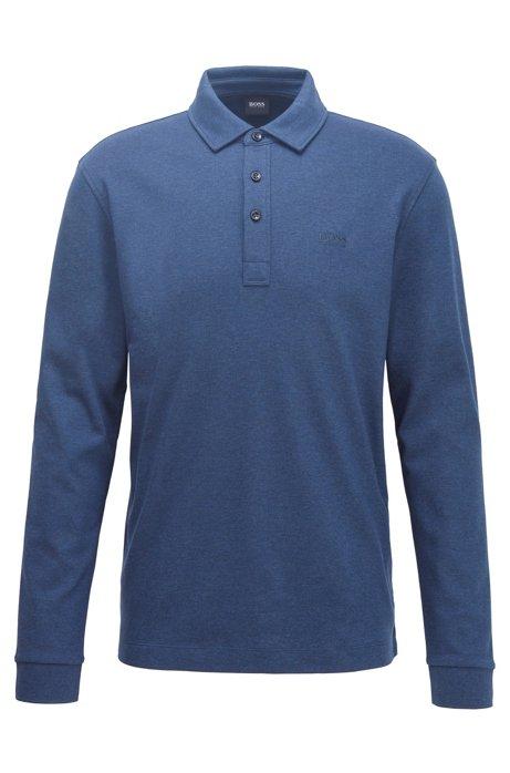 Poloshirt met lange mouwen van dubbelgebreide katoen, Donkerblauw