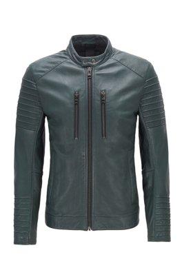Cazadora biker slim fit de piel encerada, Verde oscuro