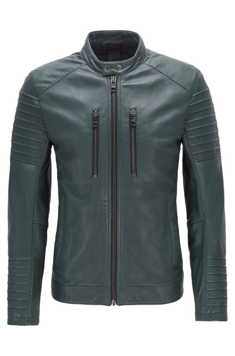 Slim-fit biker jacket in waxed leather, Dark Green