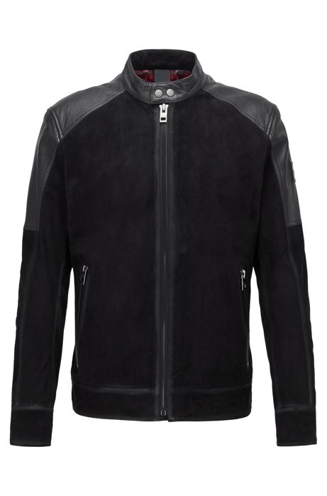Slim-fit biker jacket in leather and suede, Black