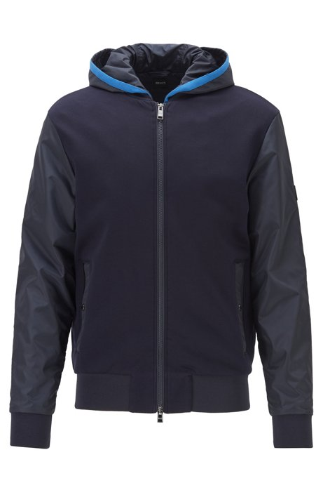 Regular-fit hooded sweatshirt with fixed insert, Dark Blue
