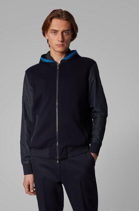 Regular-fit sweater met capuchon en vaste inzet, Donkerblauw
