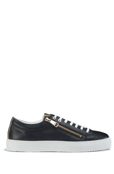 Low-top tumbled-leather trainers with twin zips, Black