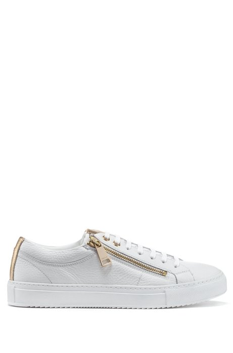 Low-top tumbled-leather trainers with twin zips, White