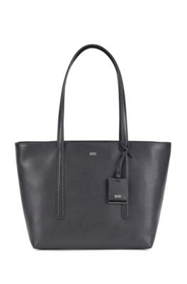 Italian-leather zipped shopper bag with hangtag, Black