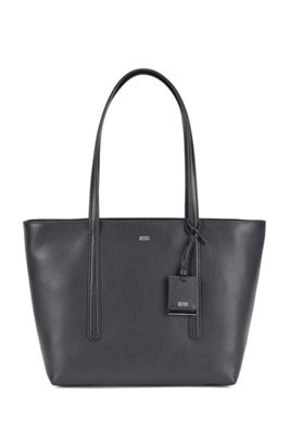 Italian-leather zipped shopper bag with hangtag, Black