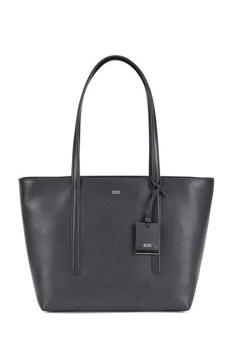 Borsa shopper con zip in pelle italiana con pendente, Nero