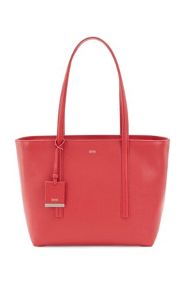 Italian-leather zipped shopper bag with hangtag, Red