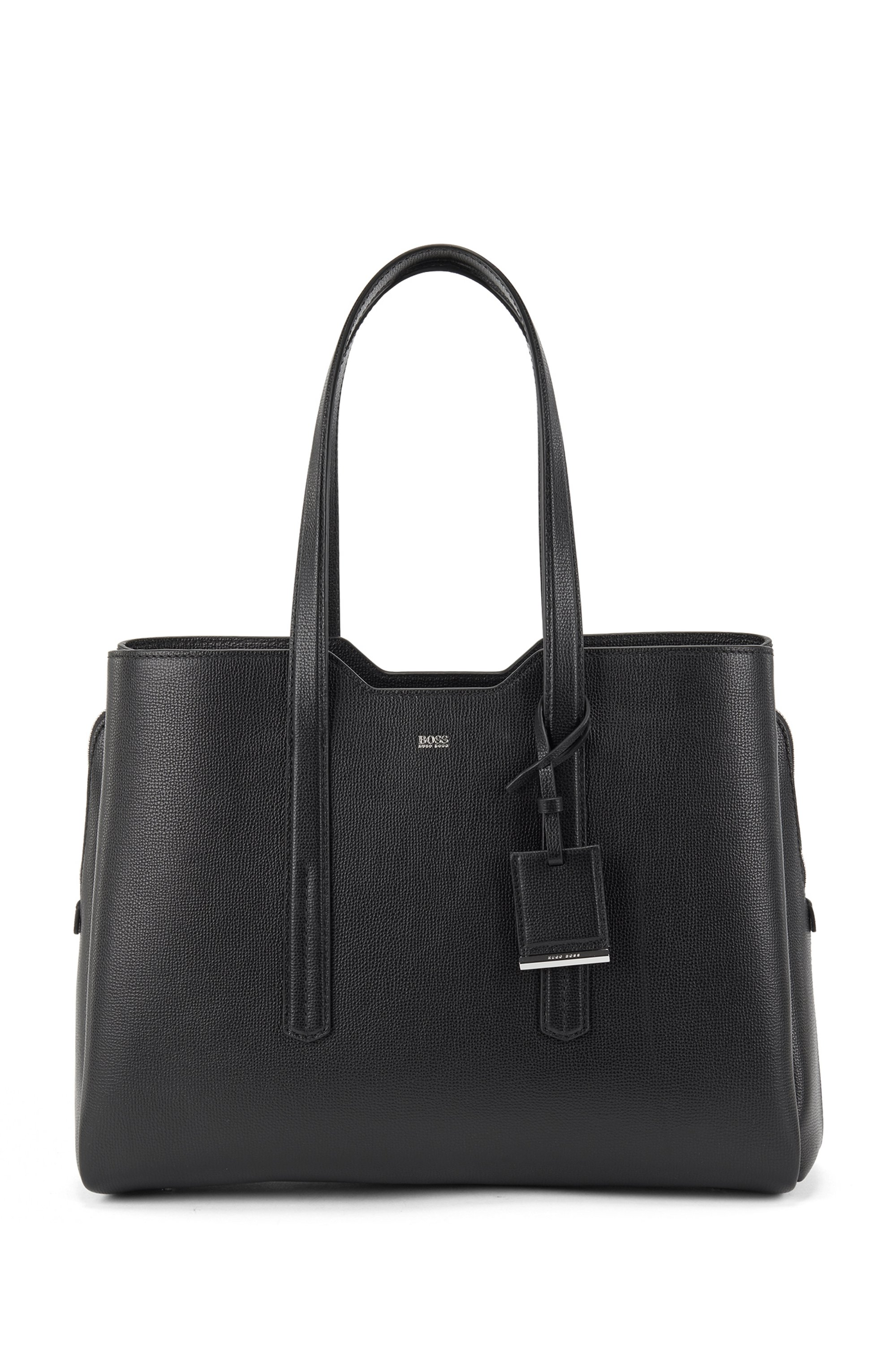 Zipped tote bag in grained Italian leather, Black