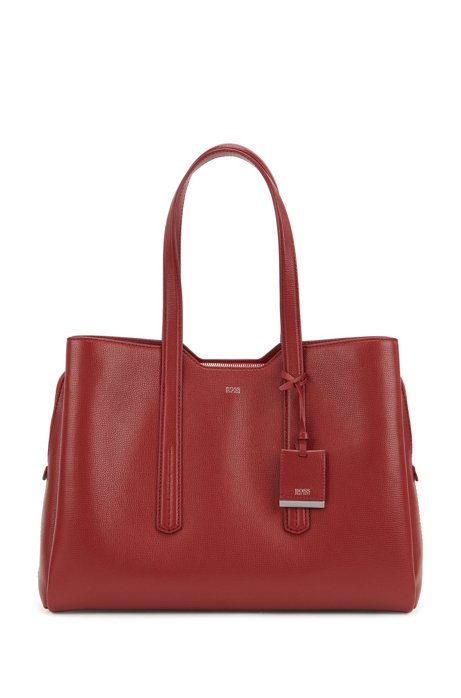 Zipped tote bag in grained Italian leather, Dark Red