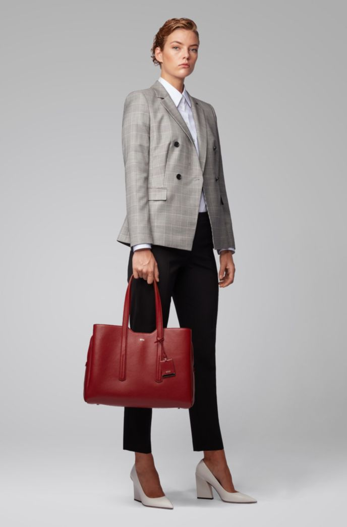 Zipped tote bag in grained Italian leather