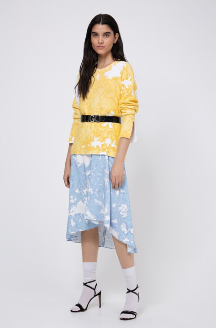 Relaxed-fit cotton sweater with tie-dye effect