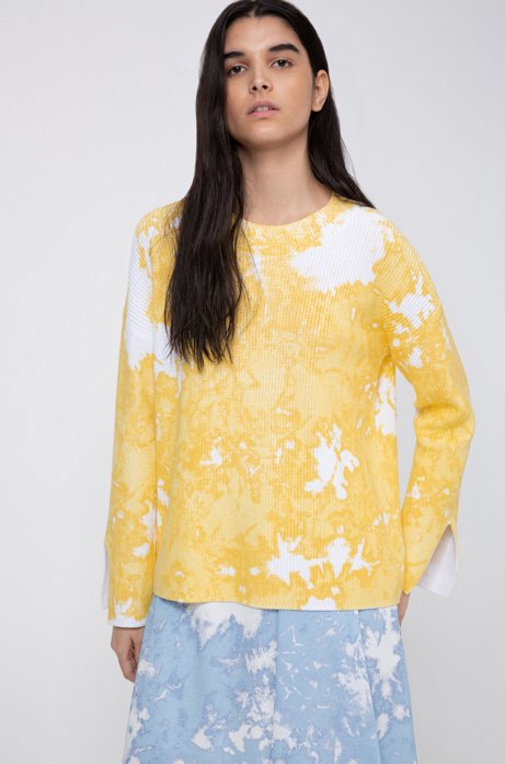 Relaxed-fit cotton sweater with tie-dye effect, Yellow