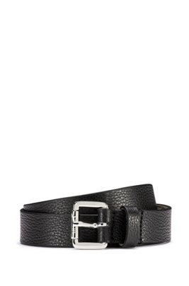 Grained-leather belt with logo-engraved buckle, Black