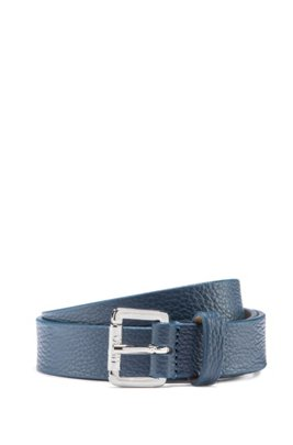 Grained-leather belt with logo-engraved buckle, Dark Blue