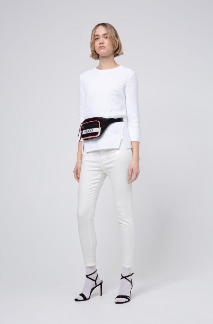 Pull à col rond en coton avec zip au dos
