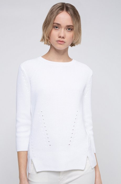 Cotton crew-neck sweater with rear zip, White