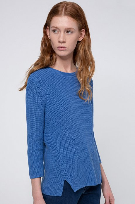 Cotton crew-neck sweater with rear zip, Blue