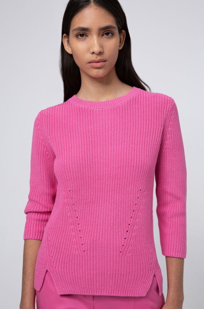 Maglione a girocollo in cotone con zip posteriore