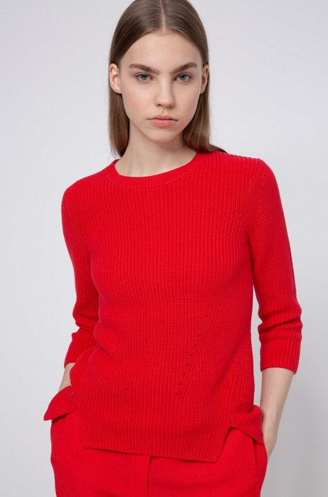 Cotton crew-neck sweater with rear zip, Red
