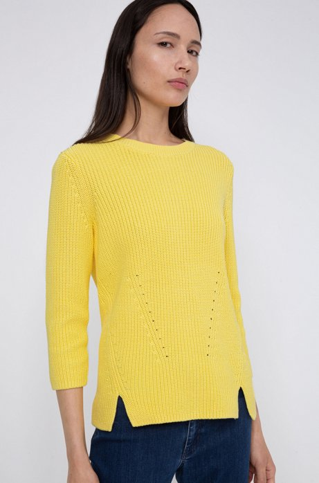 Cotton crew-neck sweater with rear zip, Light Yellow