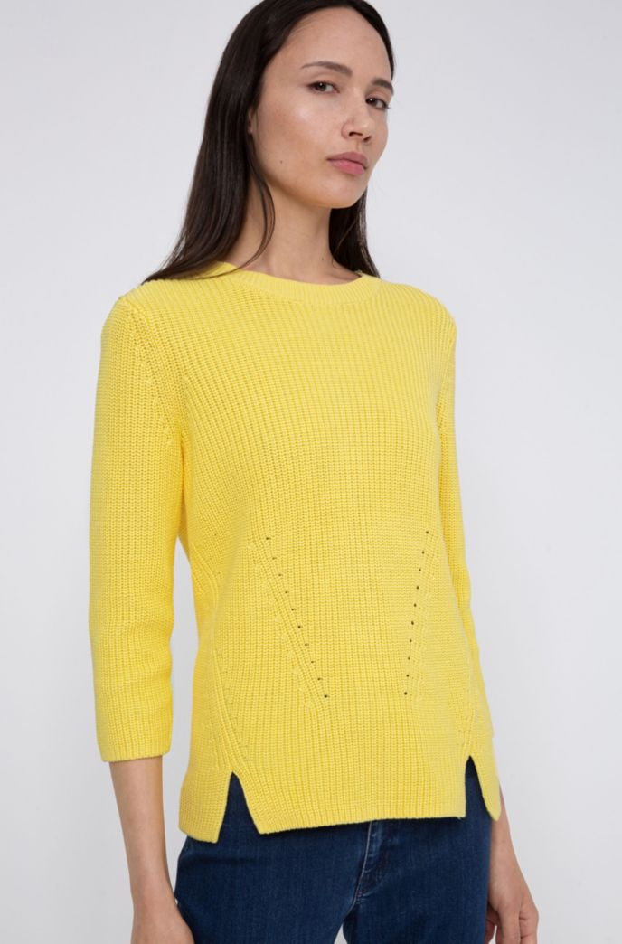 Cotton crew-neck sweater with rear zip