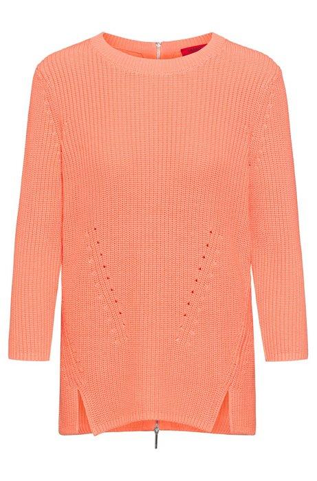 Cotton crew-neck sweater with rear zip, Light Orange