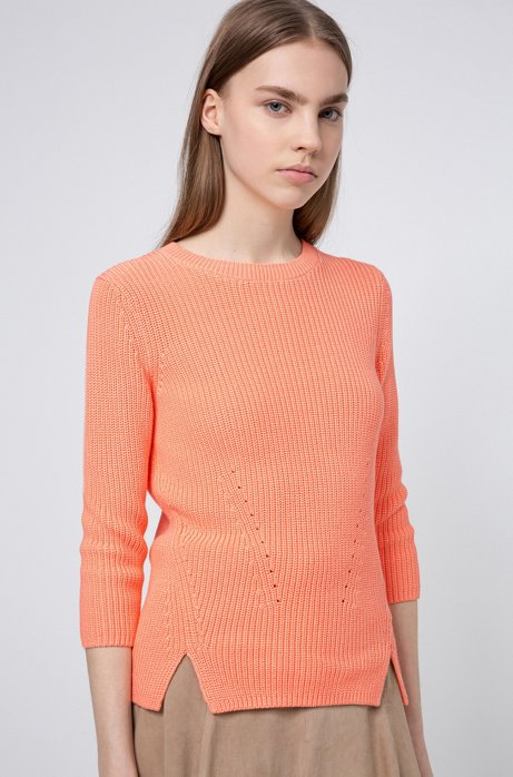 Cotton crew-neck sweater with rear zip, Light Orange