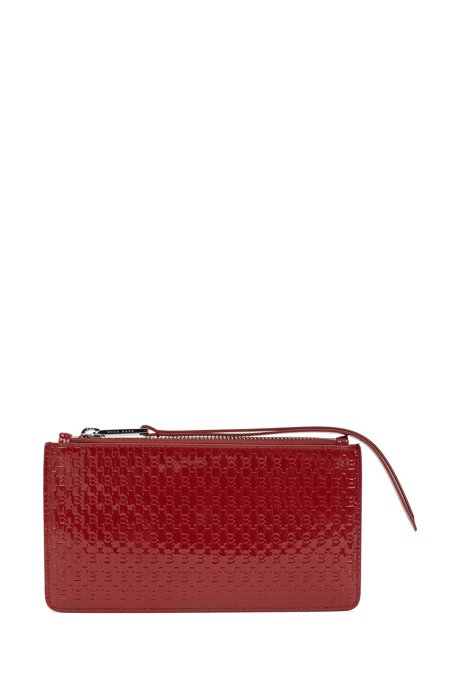 Zipped travel wallet in monogram-embossed patent leather, Dark Red