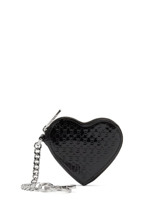 Heart-shaped zipped key ring in patent Italian leather, Black