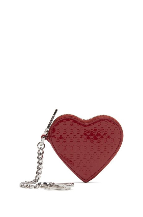 Heart-shaped zipped key ring in patent Italian leather, Dark Red
