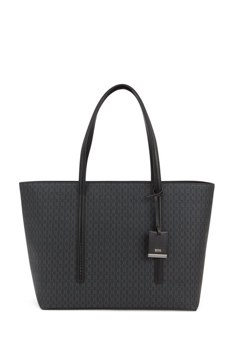 Monogram-print zipped shopper bag with leather trims, Black